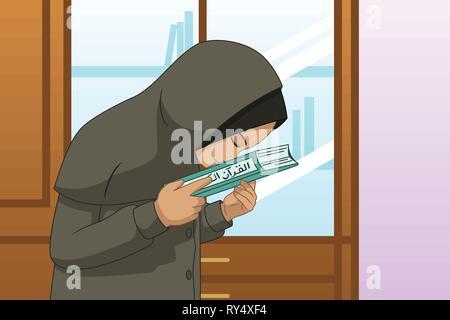 A vector illustration of Muslim Girl Praying and Kissing Quran - Stock Image