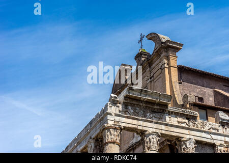 Rome, Italy - 24 June 2018:The ancient ruins of Santi Cosma e Damiano at Palatine Hills, Roman Forum in Rome - Stock Image