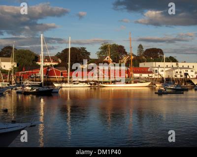 A marina, Wayfarer Marine, with expensive yachts tied alongside in Camden, Maine, USA - Stock Image