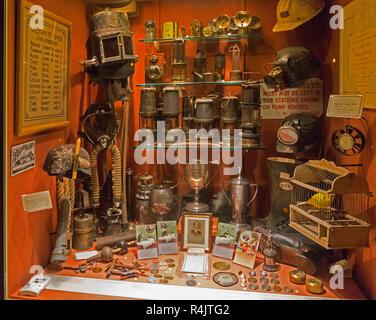 Display cabinet relating to history of coal mining in north Somerset coalfield, Radstock museum, Somerset, England, UK - Stock Image