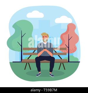 man seating in the chair with smartphone technology vector illustration - Stock Image