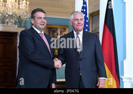 U.S. Secretary of State Rex W. Tillerson meets with German Foreign Minister Sigmar Gabriel, at the Department of - Stock Image