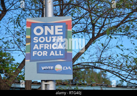 South African election poster for the May 2019 election for the Democratic Alliance, in Prince Albert - South Africa - February 2019 - Stock Image