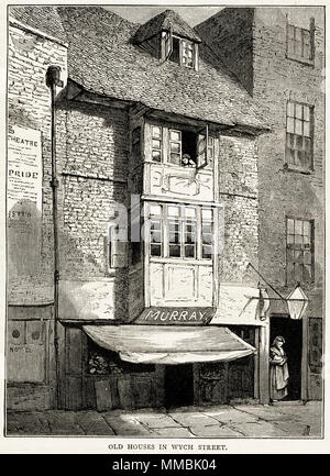 Old houses & shop Wych Street, London, England, UK. 19th century Victorian engraving circa 1878 - Stock Image