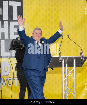 London, UK. 23rd Mar, 2019. Ian Blackford MP SNP leader about to speak at the People's Vote March and rally, 'Put it to the People.' Credit: Prixpics/Alamy Live News - Stock Image
