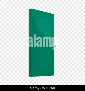 Green cabinet door icon, cartoon style - Stock Image