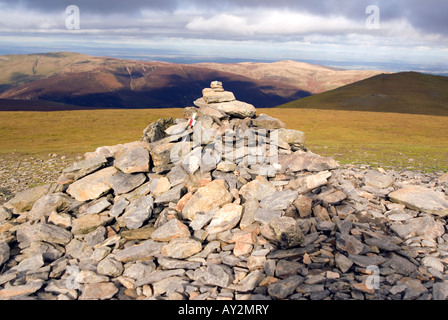 The summit cairn on Blanecathra saddle back mountain peak Lake District National Park Cumbria for sale UK England - Stock Image
