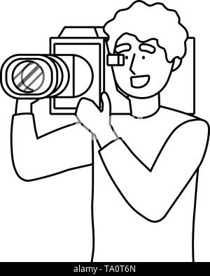 Man holding videocamera design, Media film technology equipment movie digital camcorder and cinema theme Vector illustration - Stock Image