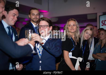 Stockholm, Sweden, September 9, 2018. Swedish General Election 2018.  Election Night Watch Party for Sweden Democrats (SD) in central Stockholm, Sweden. Credit: Barbro Bergfeldt/Alamy Live News - Stock Image