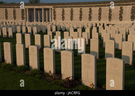 Tyne Cot Cemetery is the largest Commonwealth War Graves Commission cemetery in the world in terms of burials. Near - Stock Image