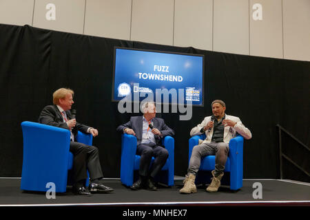 Steve Nash (CEO, Institute of the Motor Industry), hostring an interview with guests, David Williams (Technical Director at AXA) and Fuzz Townshend, from the TV show, Car S.O.S. - Stock Image