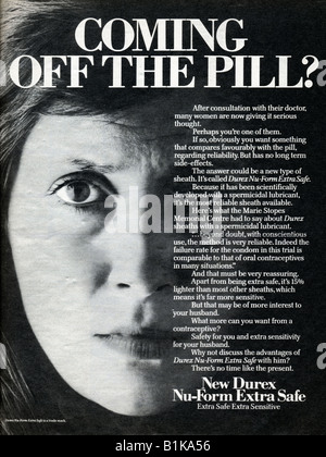 1978 magazine advertisement for Durex contraceptive sheaths condoms highlighting worries about the Pill FOR EDITORIAL - Stock Image