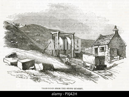 PORTLAND Large stones transported by rail on trolleys winched from the quarry      Date: circa 1850 - Stock Image