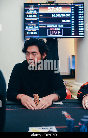 Rio de Janeiro, Brazil - March 21st, 2019: 2018 WSOP Main Event winner John Cynnat at the Main Event of the PartyPoker LIVE MILLIONS South America 2019 occuring at the luxurious Copacabana Palace Belmond Hotel in Rio de Janeiro, Brazil from March 15th through March 24th, 2019. Credit: Alexandre Rotenberg/Alamy Live News - Stock Image