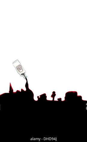 Conceptual illustration of death and a city - Stock Image