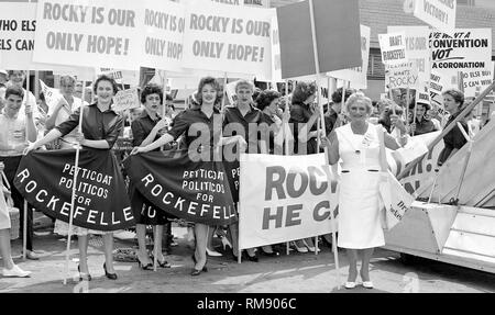 Supporters of Gov. Nelson Rockefeller, including the 'Petticoats Politicos for Rockefeller' group, await his arrival at Midway Airport for the Republican National Convention in 1960. - Stock Image