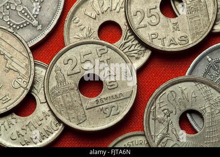 Coins of Spain. Torre del Oro in Seville, Andalusia, Spain depicted in the Spanish 25 peseta coin (1992). - Stock Image
