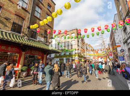 Gerrard Street in Chinatown London Britain - Stock Image