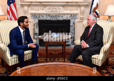 U.S. Secretary of State Rex Tillerson meets with Tillerson meets with Qatari Secretary to the Emir for Investments - Stock Image