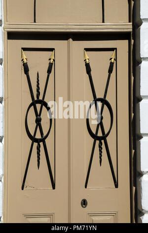 Wooden door and iron work in High Street, Rye, East Sussex, UK - Stock Image