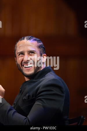 Hutchins Center, Harvard University, Cambridge, MA, USA. 11th Oct 2018. Colin Kaepernick during the 2018 W.E.B. Du Bois medal ceremony at Harvard University in Cambridge, Massachusetts, USA.   Kaepernick, a former NFL quarterback for  the San Francisco 49ers became an American icon after keeling during the U.S. National anthem in protest of Police violence against black Americans. - Stock Image