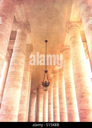 Vatican City - View of colonnade at St Peter's Square. Vintage paper texture overlay. - Stock Image