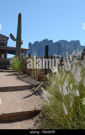 Goldfield Ghost Town, Superstition Mountains - Stock Image