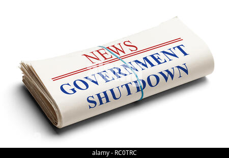 Folded Newspaper With Headline Government Shutdown Isolated on White. - Stock Image