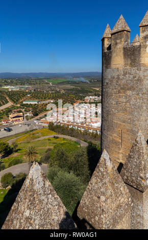 Battlements of the Castillo de Almodóvar del Río in the Province of Córdoba, Spain. Game of Thrones location. - Stock Image