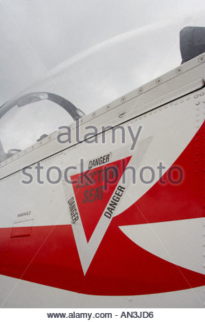 Grobnik Croatia Air show 2005 Pilatus PC9 trainer DANGER INJECTION SEAT triangle marking Croatian Air Force - Stock Image