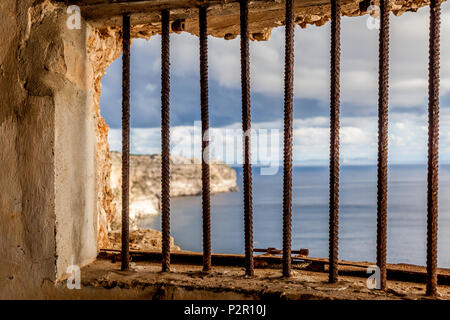 Inside the bunker Mirador del Aguila close to the lighthouse of Cap Blanc, Mallorca, Balearic Islands, Spain - Stock Image