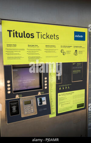 Portugal, Porto, Matosinhos, public transport, suburban Metro Station ticket machine - Stock Image