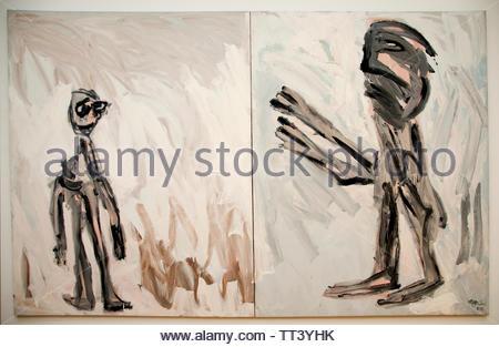 Encounter with God by Karel Appel born in 1921 Dutch painter, (sculptor,  poet, Avant-garde movement Cobra), The, Netherlands. - Stock Image