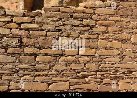 Chaco veneer pattern, Pueblo Bonito, Chaco Canyon, Chaco Culture National Historical Park, New Mexico, USA 180926_69522 - Stock Image