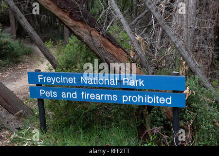 Signs at Freycinet National Park, Tasmania, Australia - Stock Image