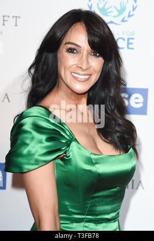 London, UK. 08th Apr, 2019. LONDON, UK. April 08, 2019: Jackie St Clair arriving for the Football for Peace initiative dinner by Global Gift Foundation at the Corinthia Hotel, London. Picture: Steve Vas/Featureflash Credit: Paul Smith/Alamy Live News - Stock Image