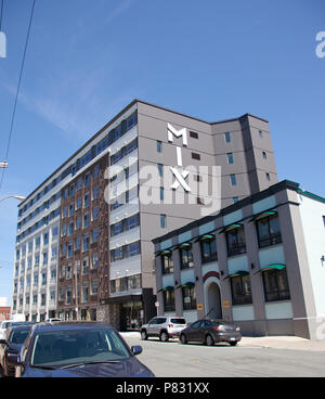 June 23, 2018 - St. Johns, Newfoundland: The newly built Mix condos and apartments on Duckworth - Stock Image