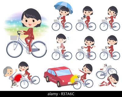 A set of women in sportswear riding a city cycle.There are actions on manners and troubles.It's vector art so it's easy to edit. - Stock Image