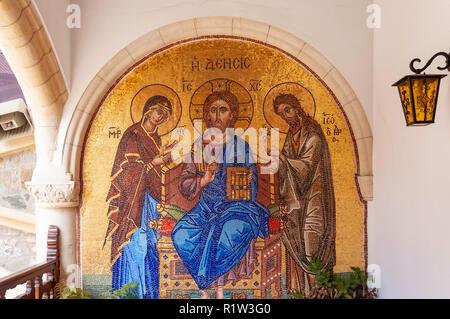 Christian gold mosaic in Kykkos Monastery, Kykkos, Troodos Mountains, Limassol District, Republic of Cyprus - Stock Image