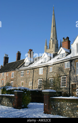 Norwich Cathedral close and houses Norfolk East Anglia - Stock Image