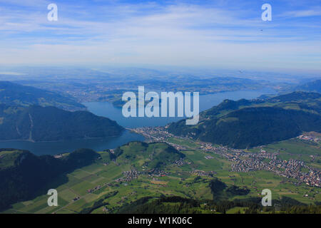 Lake Lucerne in early summer. View from Mount Stanserhorn. - Stock Image