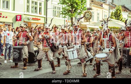 Sibiu City, Romania - 14 June 2019. Batucada Villa Pipol band , Brazilian percussion style of African influences, performing at the Sibiu Internationa - Stock Image