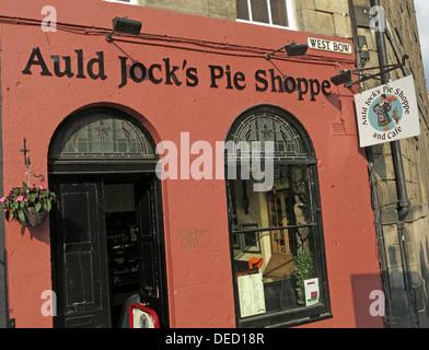 Auld Jocks Pie shoppe, West Bow, Top of Grassmarket, Edinburgh, Scotland, UK - Stock Image
