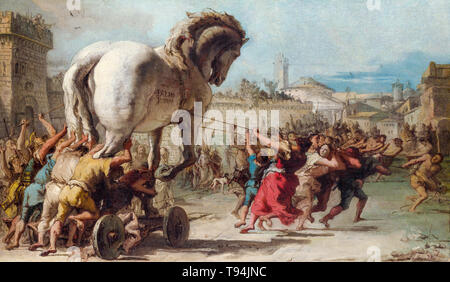 Giovanni Domenico Tiepolo, The Procession of the Trojan Horse into Troy, painting, c. 1760 - Stock Image