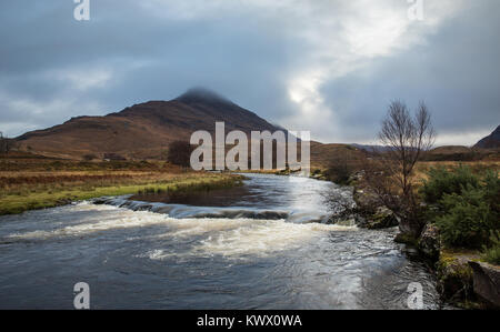 Mountain and river in the Torridon area of the Scottish Highlands - Stock Image