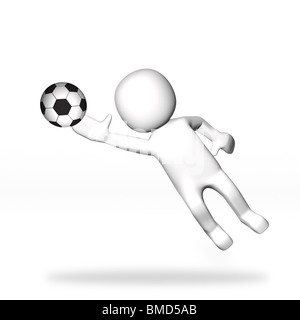3D Goalkeeper jumping to stop ball playing football - Stock Image