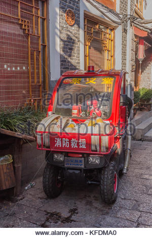 Fire buggy in the old town of Lijiang China - Stock Image