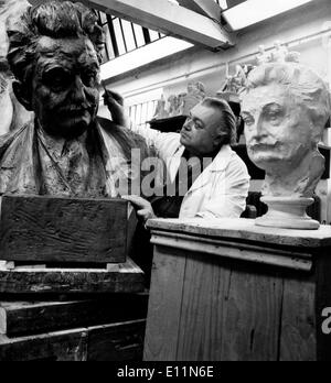 Jun 15, 1979; Moravia, Czech Republic; Academic sculptor Professor Milos Axman, Czechoslovak artist of Merit, has completed a bust of Leos Janacek (1854-1928). The bust of this Czech composer, a world-renowned pioneer of modern music, is designed for the foyer of the Leos Janacek Theatre in Brno, southern Moravia. The bust will be unveiled at the opening of the 'Janacek Brno' summer festival, in Brno from June 24th to July 2nd. The picture shows Professor MILOS AXMAN working on the bust of Leos Jancek in his Brno studio. - Stock Image