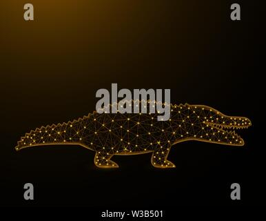 Crocodile low poly model, African animal polygonal wireframe, reptile vector illustration on brown background - Stock Image