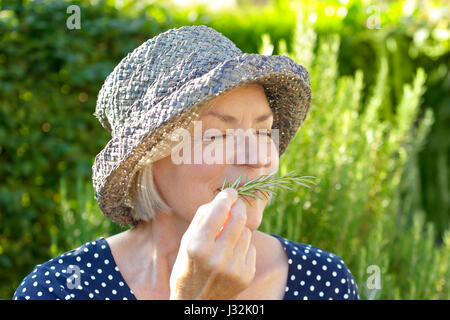 Senior woman with straw hat on a sunny summer afternoon in her garden enjoying the intense fragrance of her home - Stock Image